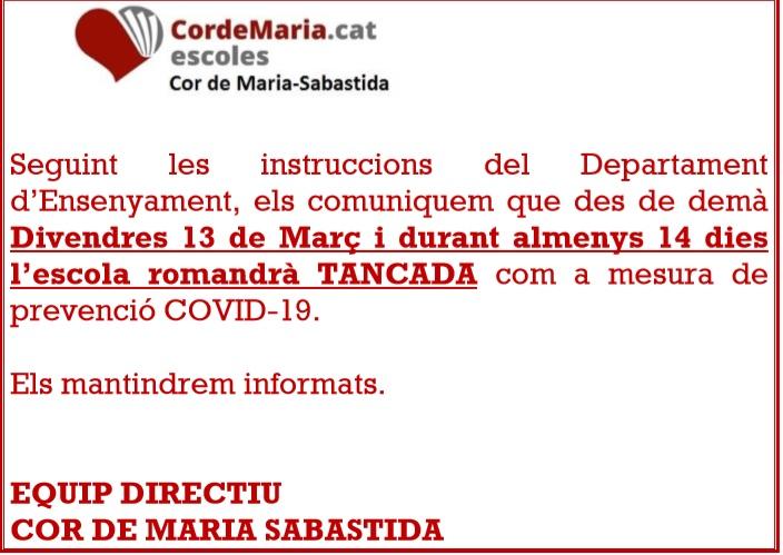 COMUNICAT DE L'ESCOLA